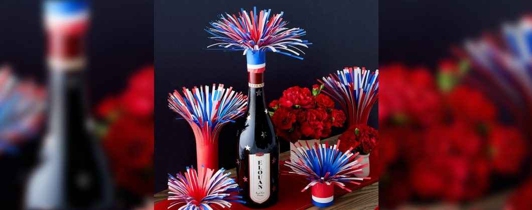 Elouan Firework wine bottle toppers - red, white, and blue paper wine bottle toppers