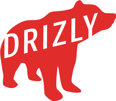Drizly Logo - white text over red bear